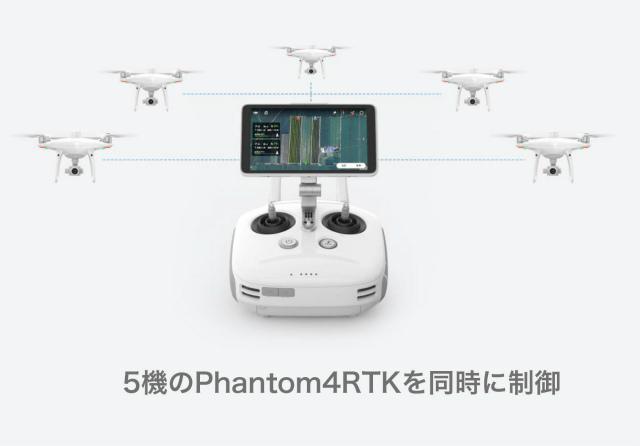 最大5機のPHANTOM 4 RTKを同時に制御