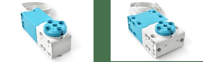 (左:レゴ テクニック Mアンギュラーモーター、右:レゴ テクニック Lアンギュラーモーター)