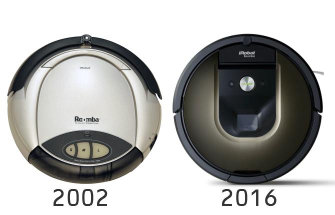 2002年発売初代ルンバと2016年のルンバ